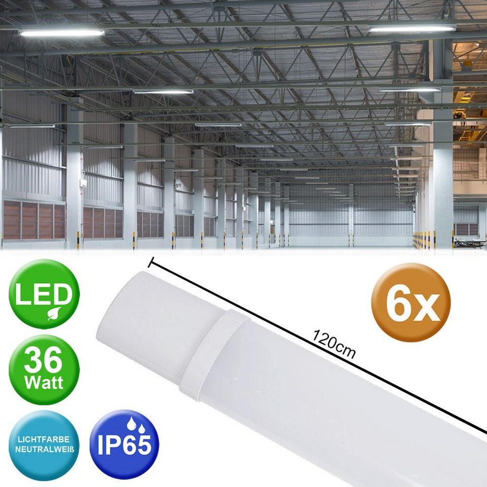 4er Set SMD LED 36W Außen Lampen Garten Industrie Hallen Röhren Wannen Leuchten