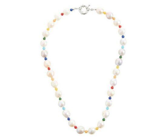 Gemshine Perlenkette »Zuchtperlen und Edelsteinen, CONFETTI«, Made in Germany