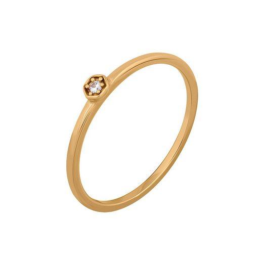 CAÏ Fingerring »925/- Sterling Silber vergoldet Hexagon mit Zirkon«, Ring