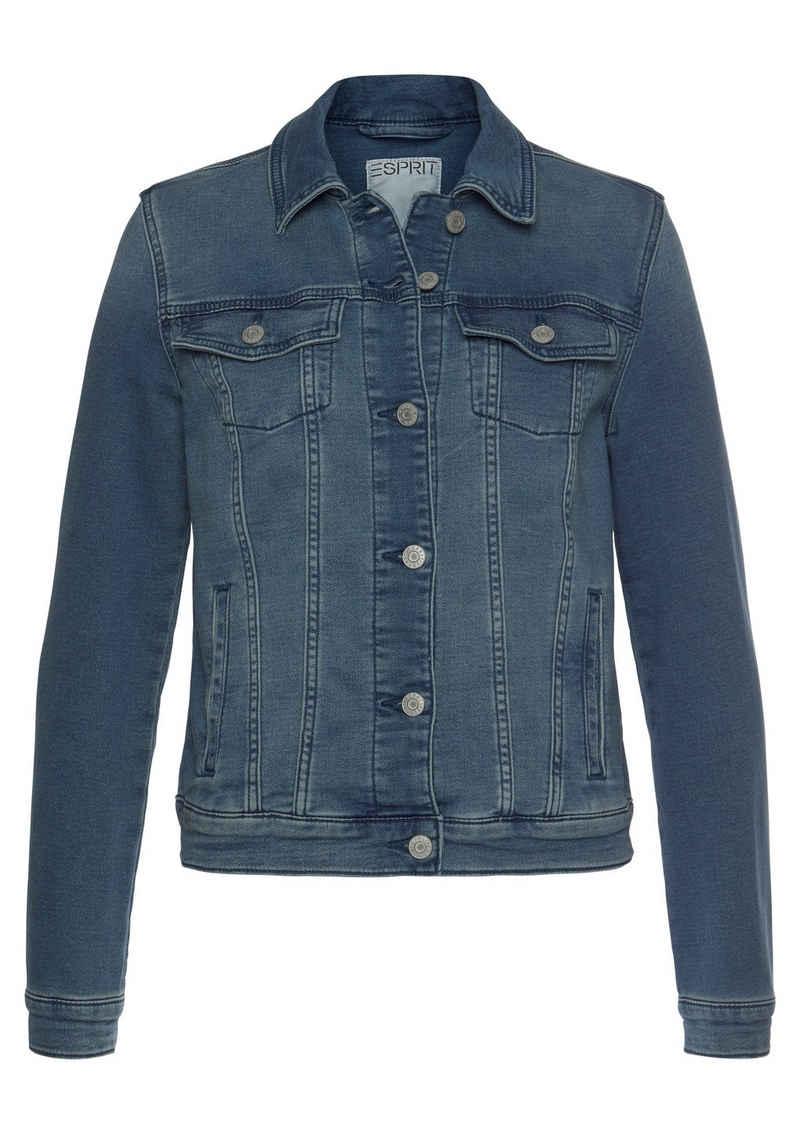 Esprit Jeansjacke aus weichem Sweat-Denim