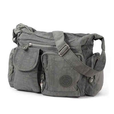 BAG STREET Schultertasche »OTJ205K Bag Street Damenhandtasche Schultertasche« (Schultertasche), Schultertasche Nylon, grau ca. 32cm x ca. 20cm