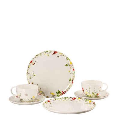 Rosenthal Kaffeeservice »Brillance Fleurs des Alpes Set 6-tlg. mit Kombitassen und Coupteller« (6-tlg), Fine China-Porzellan, Bone China