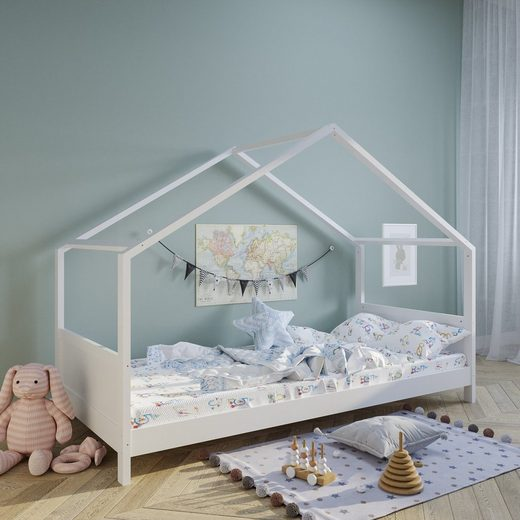 Kids Collective Hausbett »Kinderbett Carlotta 90x200 cm, optional mit Matratze«, stabiles Jugendbett aus Kiefer Vollholz 200cm Liegefläche, Made in Europe