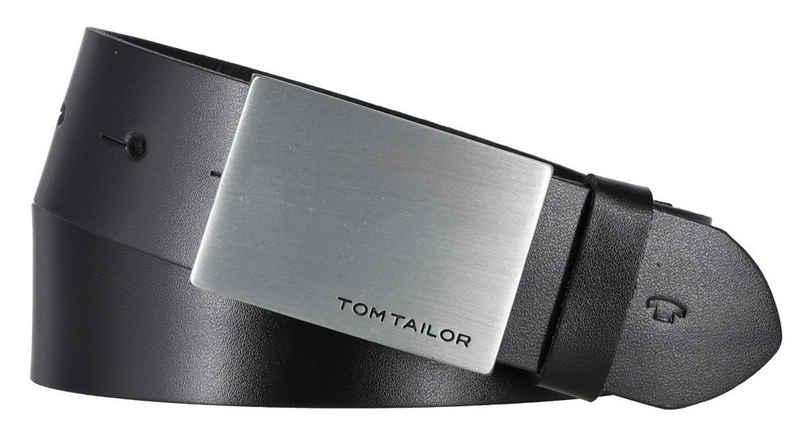 """TOM TAILOR Ledergürtel »Tom Tailor Gürtel """"Bob"""" 35 mm schwarz Koppelschlie«"""