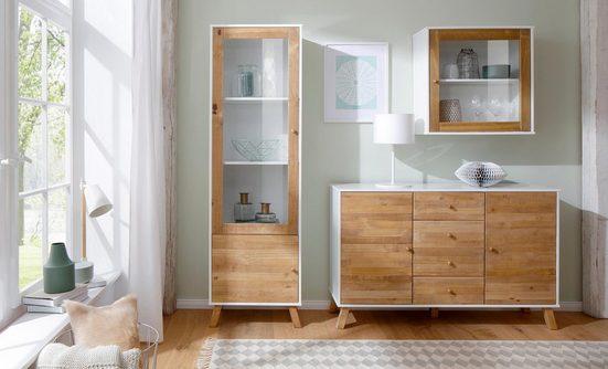 Home affaire Hängevitrine »Rondo« mit einer Glastür und einem Einlegeboden, aus Massivholz, Breite 65 cm