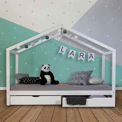 Homestyle4u Hausbett, mit Lattenrost und Bettkasten, verschiedenen Farben