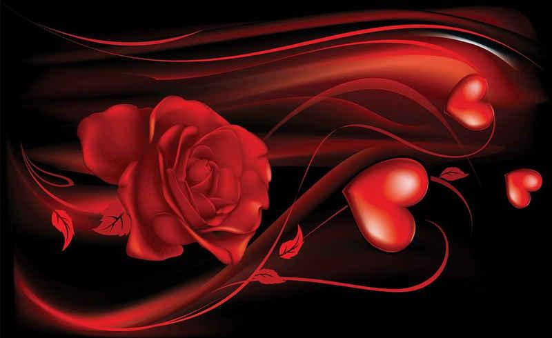 Consalnet Fototapete »Abstrakt Rose Herz«, glatt, Motiv