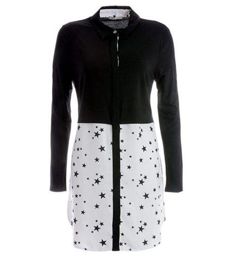 TUZZI Longbluse »TUZZI Long-Bluse modische Damen Hemd-Bluse mit Sternchenprint Langarm-Bluse Schwarz/Weiß«