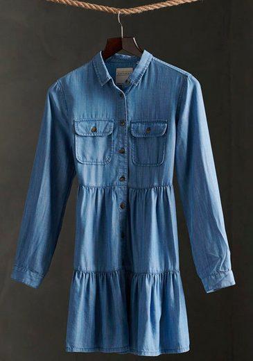 Superdry Jeanskleid »TIERED SHIRT DRESS« mit ausgestelltem Volant