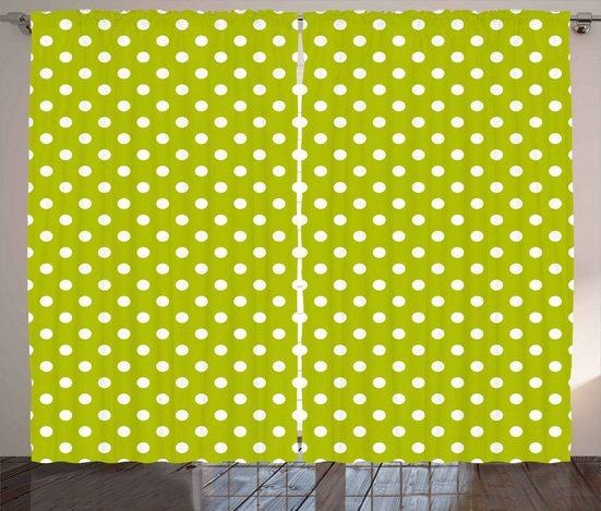 Gardine »Schlafzimmer Kräuselband Vorhang mit Schlaufen und Haken«, Abakuhaus, Retro Kalk-Weinlese-Tupfen