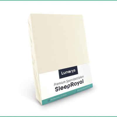 Spannbettlaken »SleepRoyal«, Lunarys, Spannbettlaken 90x200 cm, creme, Spannbettlaken für Boxspringbetten / Topper / Wasserbetten und alle Matratzen-Typen, 250 g/m² dicker Stoff, blickdicht, kuschelig weich, hochwertiges Bettlaken aus Baumwolle + Elasthan, Stretch Jersey, schwere und dicke Qualität, Luxus Stretch-Jersey, Premium Spannlaken, 40 cm Steghöhe für extra hohe Matratzen, perfekte Passform, festes Rundumgummi, faltenfrei, bügelfrei, trocknergeeignet