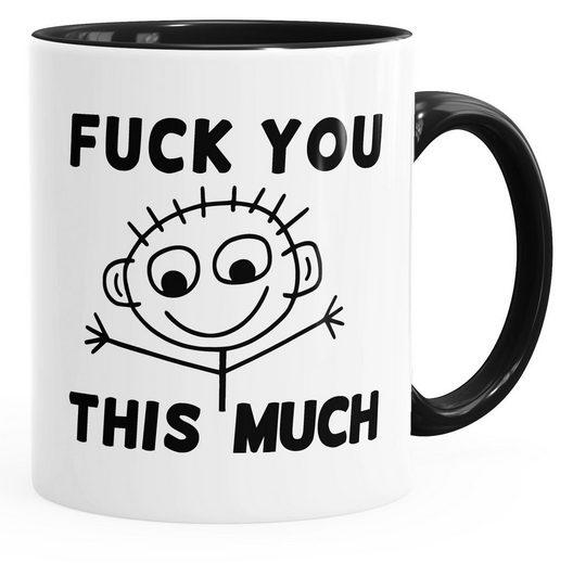 MoonWorks Tasse »Kaffeetasse Fuck you this much Fun-Tasse Teetasse Keramiktasse MoonWorks® Innenfarbe«