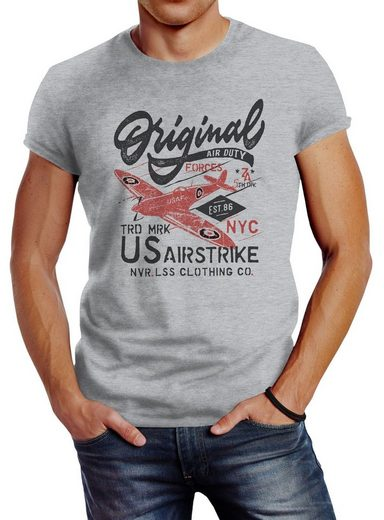 Neverless Print-Shirt »Herren T-Shirt US Airforce Army Motiv Spitfire Flugzeug Vintage Motiv Retro Schriftzug Fashion Streetstyle Neverless®« mit Print
