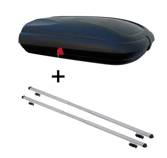 VDP Fahrradträger, Dachbox VDPBA320 320Ltr carbonlook abschließbar + Dachträger RAPID kompatibel mit Kia Sorento II (5Türer) 09-14