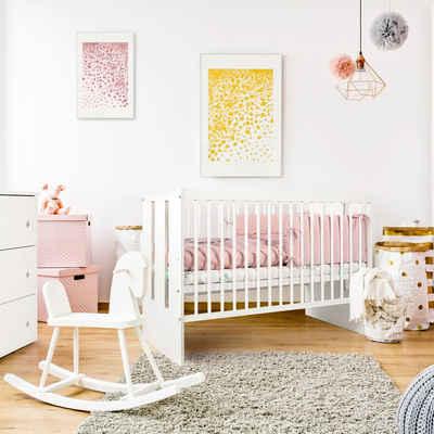 Kids Collective Babybett »60x120 cm in weiß oder grau«, dreifach höhenverstellbar und herausnehmbare Sprossen, Made in Europe