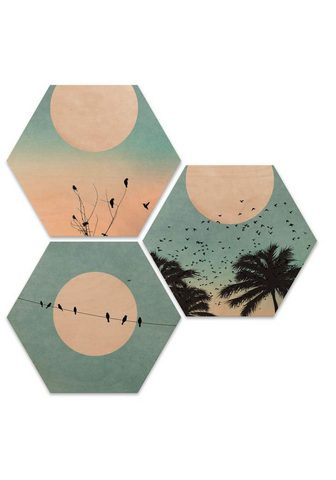 Wall-Art Holzbild »Hexagon Holzbild Sonnenaufga...