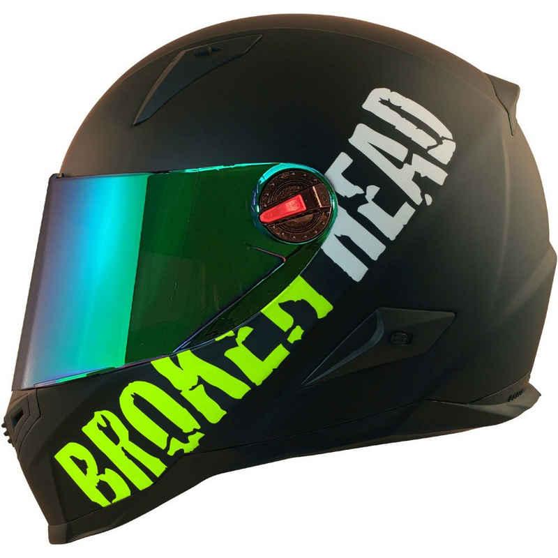 Broken Head Motorradhelm »BeProud Grün - Integralhelm - Streethelm« (mit klarem und grün verspiegeltem Visier), inklusive 2 Visieren