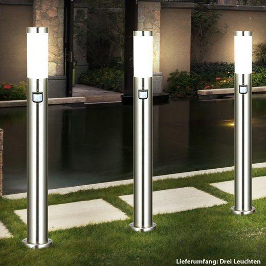 etc-shop LED Außen-Stehlampe, 3er Set Außen Stand Leuchte Balkon Hof Edelstahl Strahler Bewegungsmelder IP44