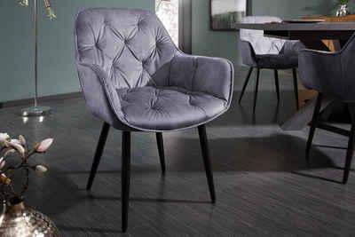 riess-ambiente Stuhl »MILANO grau«, Armlehnstuhl · Samt · Polsterstuhl · Esszimmer
