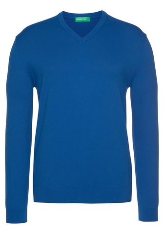 United Colors of Benetton V-Ausschnitt-Pullover unifarben melier...