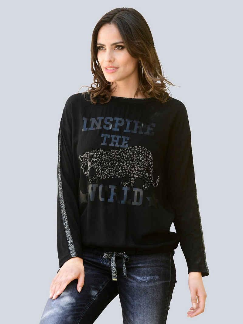 Alba Moda Langarmshirt mit Print im Vorderteil