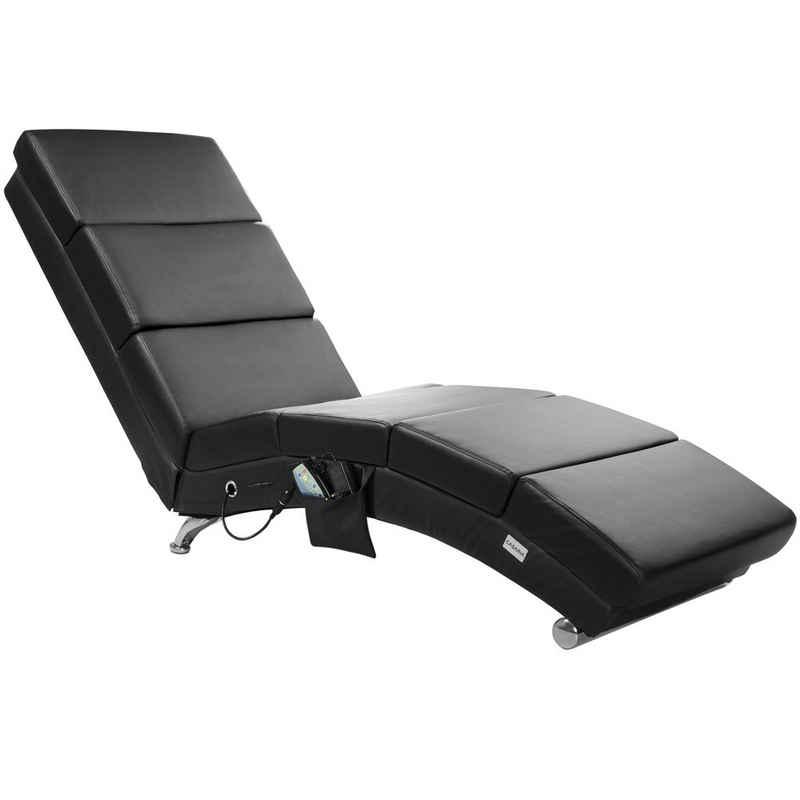 Casaria Relaxliege »London Massage«, 1 Teile, Modernes Design - Massage- und Heizfunktion - bequem gepolstert - extra hohe Rückenlehne - stabile Konstruktion - chromfarbene Standfüße - sehr pflegeleicht - einfache Montage