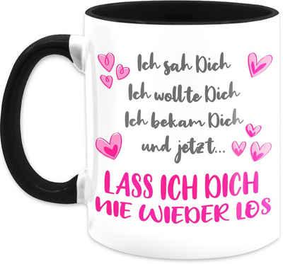 Shirtracer Tasse »Ich sah Dich, ich wollte Dich, ich bekam Dich - Herzen - Rosa - Partner Geschenke Kaffeetasse - Tasse zweifarbig«, Keramik, Valentinstag Teetasse