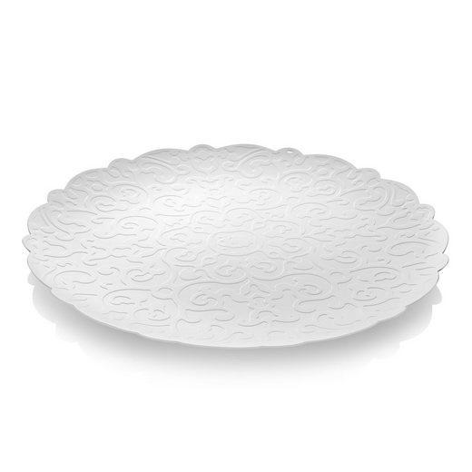 Alessi Tablett »Tablett mit Relief, weiß 35 cm«, Edelstahl epoxidharzlackiert