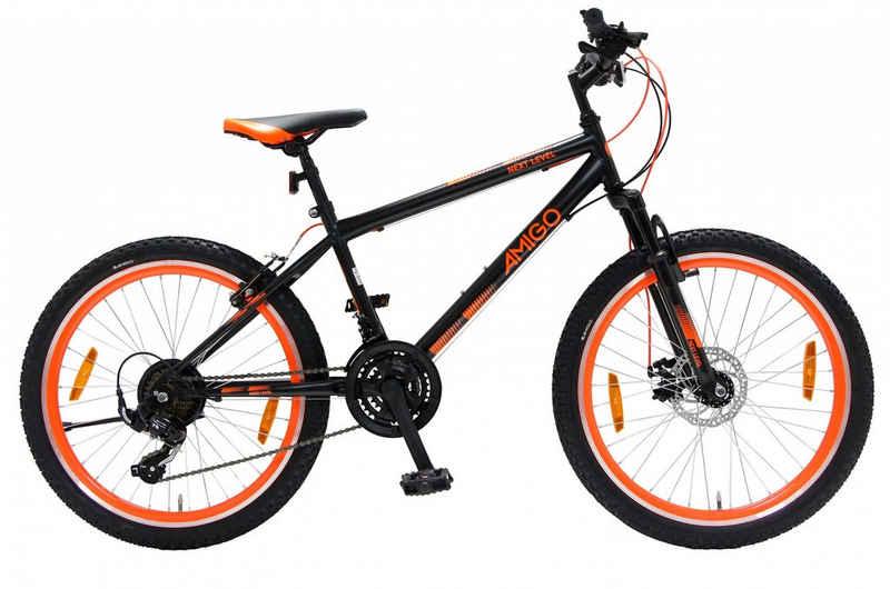 LeNoSa Mountainbike »Amigo 26 Zoll • Unisex Fahrrad • 21G Felgenbremse Schwarz/Orange«, 21 Gang