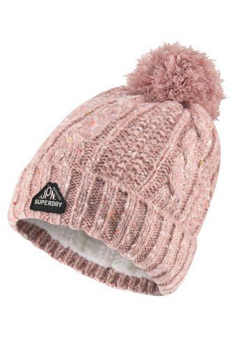 Superdry Megzta kepurė su großem Strickbommel