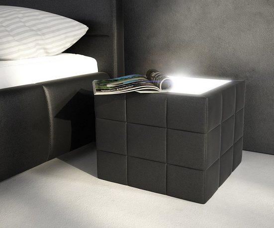DELIFE Nachtkommode »Nuncia«, Schwarz 41x41x41 cm abgesteppt mit LED Beleuchtung