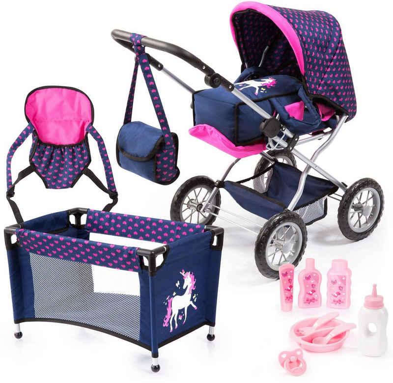 Bayer Kombi-Puppenwagen »Grande, Blau/Pink«, (Set), mit Reisebett, Flasche, Tragegurt, Schnuller, Puppengeschirr, Fläschchen und Pflegemittel