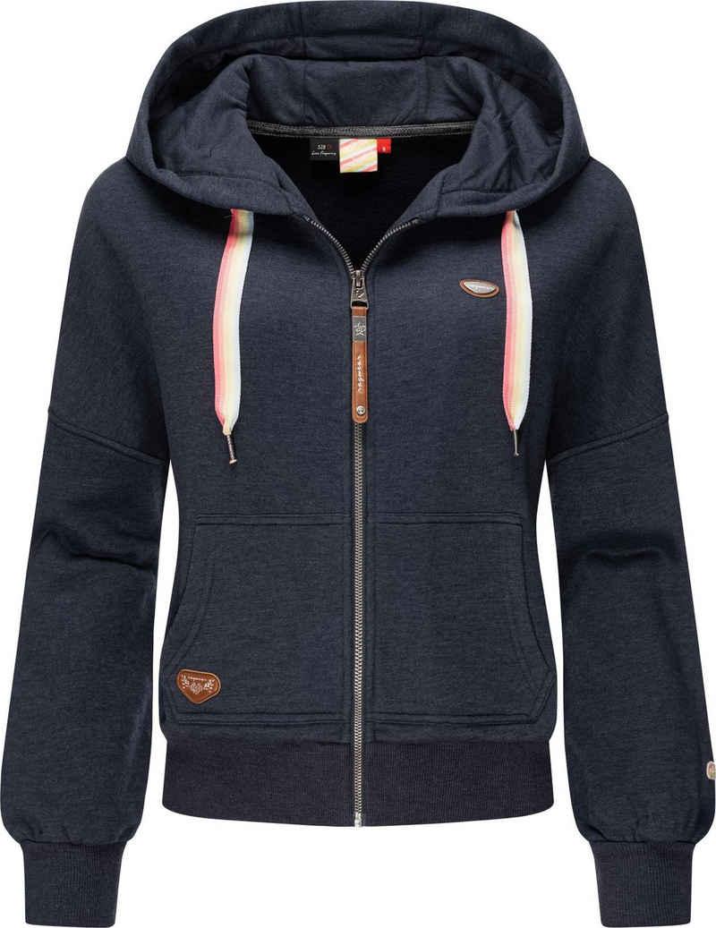Ragwear Sweatjacke »Gobby Zip Intl.« Damen Kapuzensweater mit Regenbogen-Bändchen