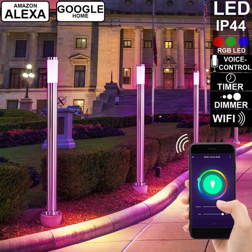 etc-shop LED Außen-Stehlampe, 4x Smart Home Außen Steh Lampen DIMMBAR Alexa Google Home Leuchten im Set inkl. RGB LED Leuchtmittel