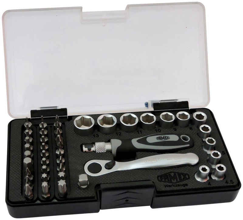 FAMEX Werkzeugset, (45-St), mit 72-Zahn Mini-Knarre
