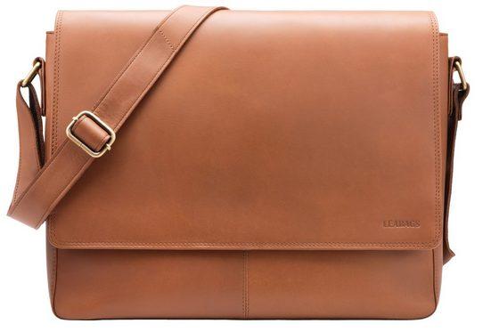 LEABAGS Umhängetasche »Oxford«, Laptoptasche 15 Zoll aus echtem Büffel-Leder im Vintage Look - Cayenne