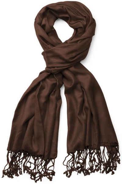 styleBREAKER Schal »Unifarbener weicher Schal mit Fransen« Unifarbener weicher Schal mit Fransen
