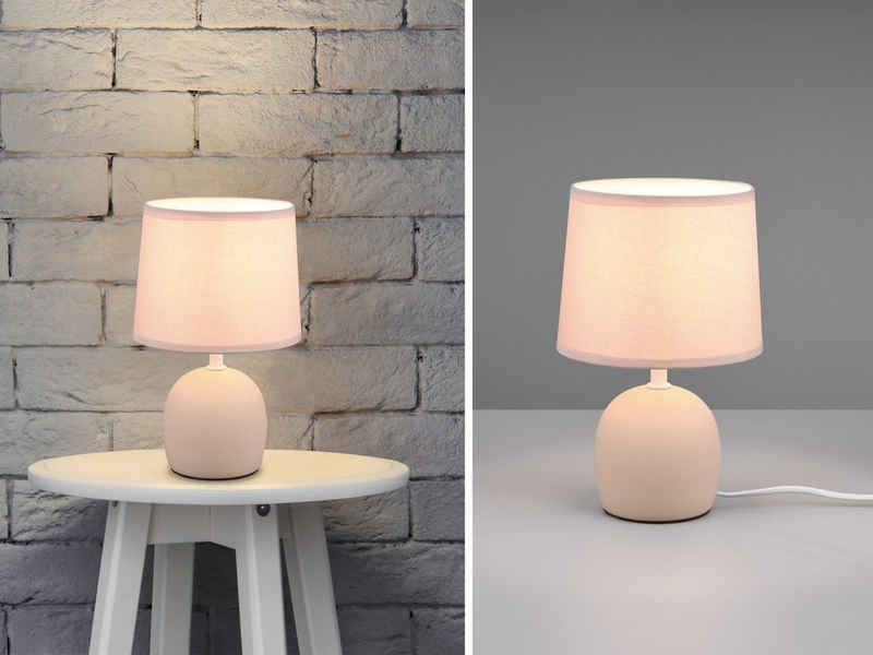 meineWunschleuchte LED Nachttischlampe, kleine Keramik Tisch-Lampe skandi-navisch mit Stoff-Lampen-Schirm Landhaus-Stil für Fensterbank, Wohnzimmer & Schlafzimmer