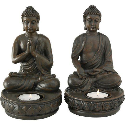 """BOLTZE Teelichthalter »2er-Set Teelichthalter """"Buddha"""" 11 x 11 x 19 cm«"""