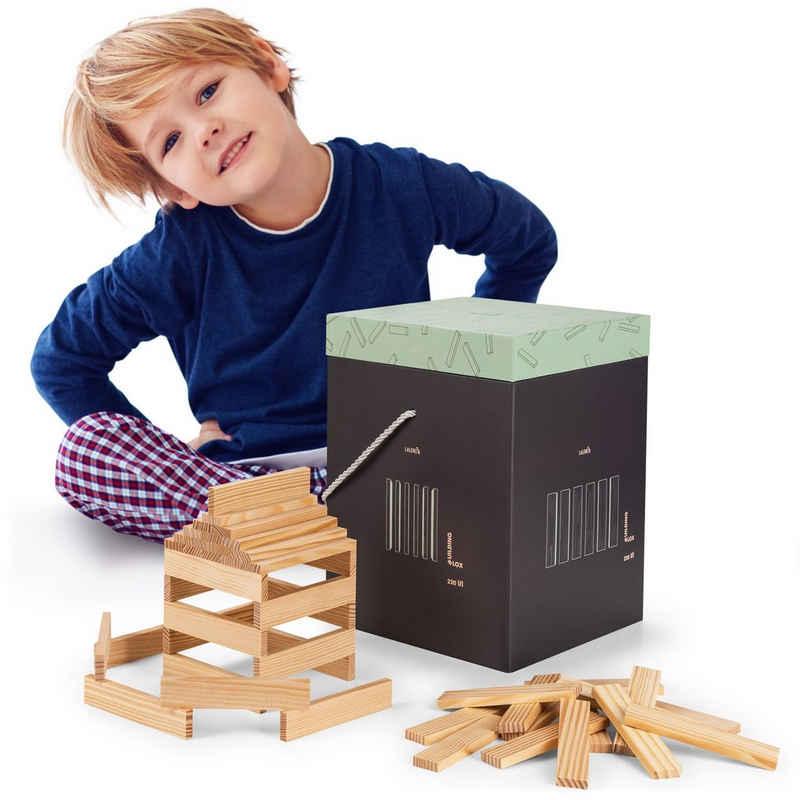 Laleni Holzbaukasten »220 Holzbausteine natur - Bauklötze mit Box, Bausteine Holz«, (220 St)