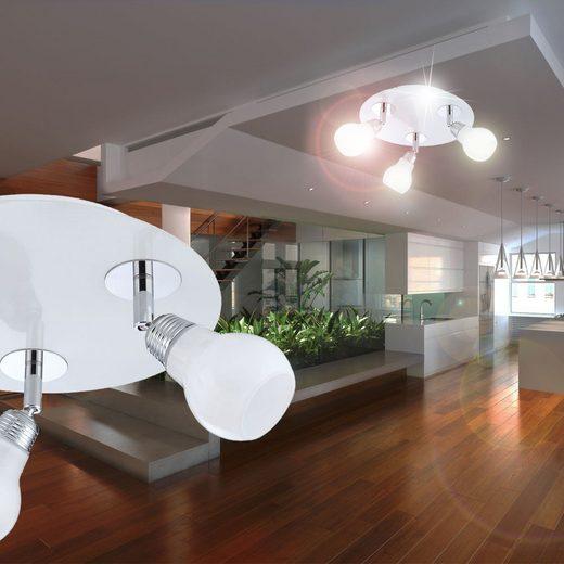 WOFI Deckenspot, Decken Strahler Bewegliche Spots Glas weiß silber DINA 3flg WOFI 9075.03.06.0000