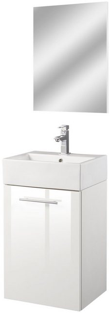 Badezimmer Sets - Oristo Badmöbel Set »Epsilon«, (3 tlg), Badmöbel Set mit Spiegel, Waschbecken und Waschbeckenunterschrank  - Onlineshop OTTO
