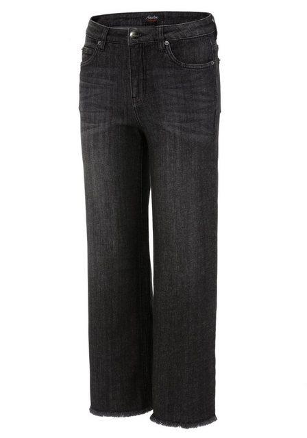 Hosen - Aniston CASUAL 7 8 Jeans mit leicht ausgefranstem Beinabschluss › schwarz  - Onlineshop OTTO