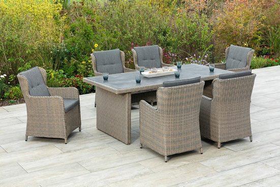 MERXX Gartenmöbelset »Ostiano«, (7-tlg), 6 Sessel mit Tisch