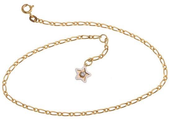Silberkettenstore Fußkette mit Anhänger »Fußkette 585 Gold mit Stern Anhänger 23 - 30cm«