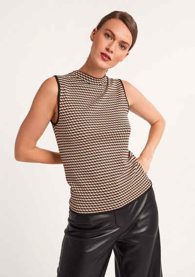 Comma Shirttop »Pullunder mit Tricolor-Muster« (1-tlg) Rollsaumblende