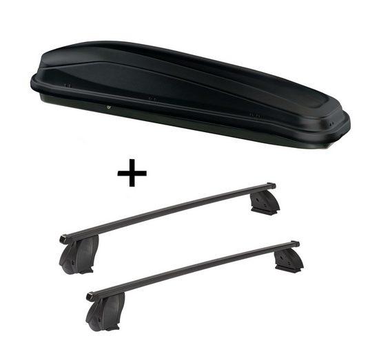 VDP Fahrradträger, Dachbox JUEASY300 300 Liter schwarz + Dachträger K1 MEDIUM kompatibel mit Citroen Nemo Van ab 08