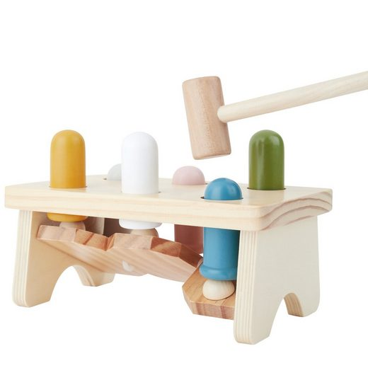 BIECO Klopfbank »Bieco Klopfbank ab 1 Jahr 20x12 cm Buntes Holz Hammerspiel ab 1 Jahr Holzspielzeug Baby mit Klopfer Baby Holzspielzeug zum Hämmern Motorikspielzeug ab 1 Jahr Hämmerchenspiel aus Holz«