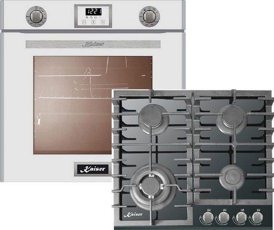 Kaiser Küchengeräte Gasherd-Set EG 6374 W + KCG 6383/3, Einbau-Backofen 60cm in Weiß/Gas Backofen/Gas-Kochfeld 60 cm/Autark/Drehspieß/Grill/Heißluft/Selbstreinigung/Erdgas/Propangas