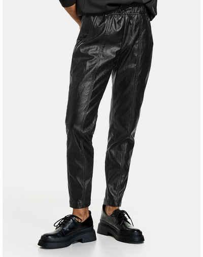 Taifun Stoffhose »Jogpants aus Kunstleder Lounge Pants High« (1-tlg)